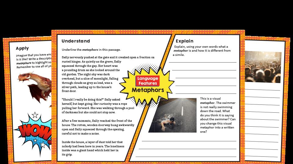 Ks2 Metaphors Worksheets Writing Features Challenge Mat Plazoom