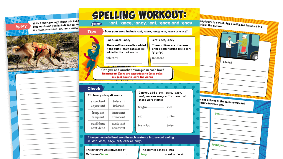 Spelling Workouts, Years 5 and 6: '-ant', '-ance', '-ancy', '-ent', '-ence'  or '-ency' | Plazoom