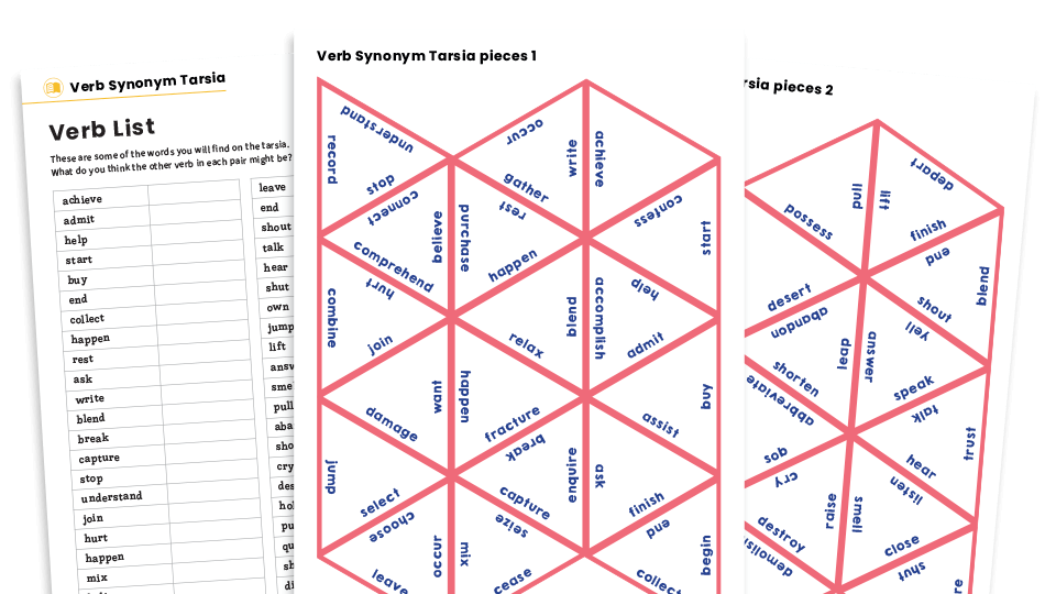Verb Synonyms KS2 Tarsia Puzzle And Worksheet Plazoom