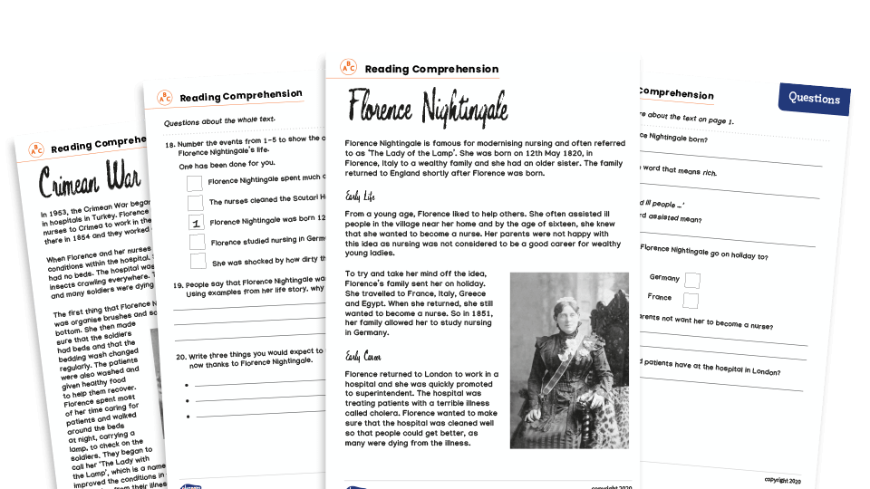 Florence Nightingale Year 3 & 4 Non-Fiction Reading Comprehension Worksheets  Pack Plazoom