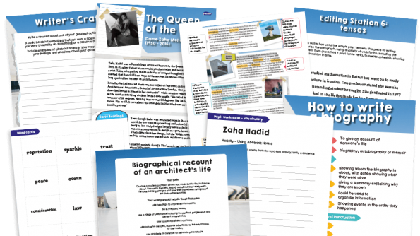 Image of Year 6 Model Text Resource Pack 13: 'Queen of the Curve' (Biographical recount; Art - famous architects)