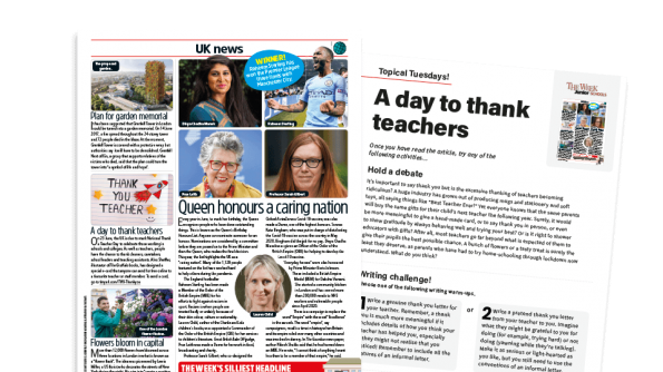 Free Resource Image for Topical Tuesdays: Thank you, teacher! - KS2 News Story and Reading and Writing Activity Sheet from The Week Junior