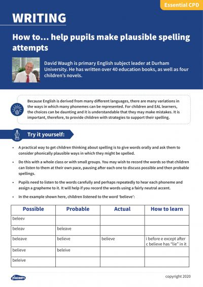 Image for cpd guide - How to... help pupils make plausible spelling attempts