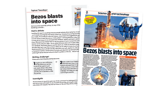Free Resource Image for Topical Tuesdays: A Space Adventure - KS2 News Story and Reading and Writing Activity Sheet from The Week Junior