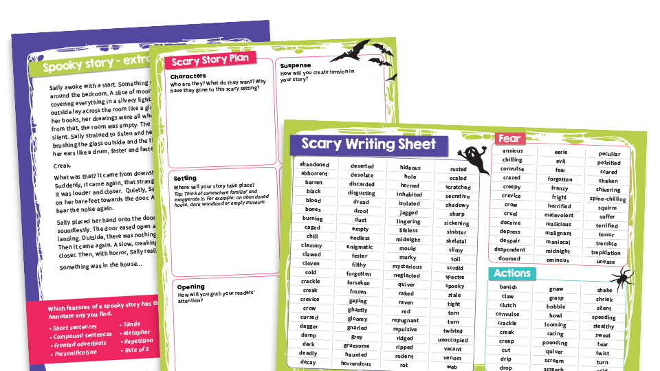 KS2 Text Types – Scary Stories: Writing Worksheets And Model Texts Plazoom
