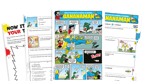 Free Resource Image for Bananaman in Colour – KS2 Beano Comprehension and Writing Activities Pack
