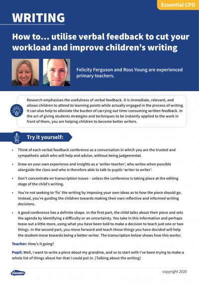 Image for cpd guide - How to... utilise verbal feedback to cut your workload and improve children's writing