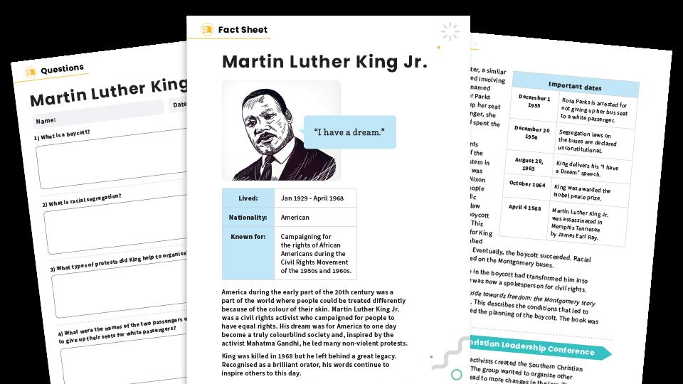 Martin Luther King Jr KS2 Non-fiction Reading Comprehension Worksheets Pack  – Famous Lives Plazoom