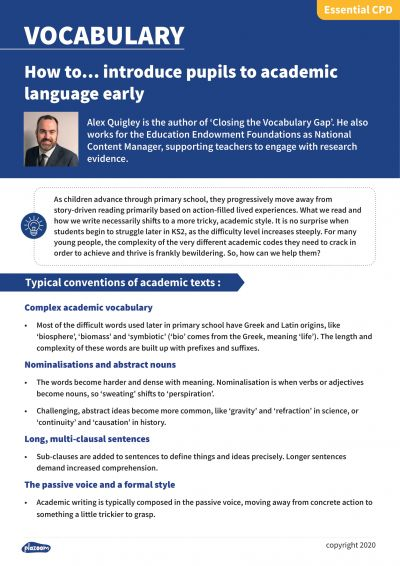 Image for cpd guide - How to... introduce pupils to academic language early