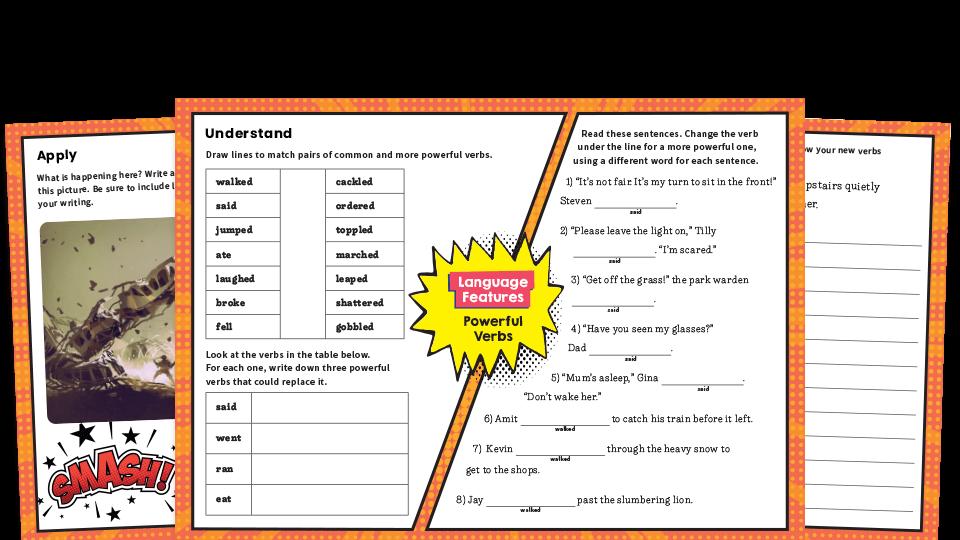 Powerful Verbs KS2 Features Of Writing Worksheets KS2 Plazoom
