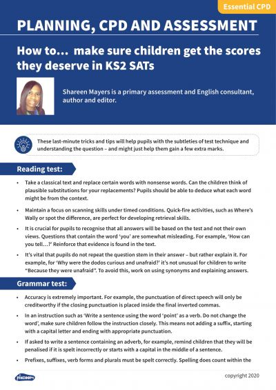 Image for cpd guide - How to...  make sure children get the scores they deserve in KS2 SATs