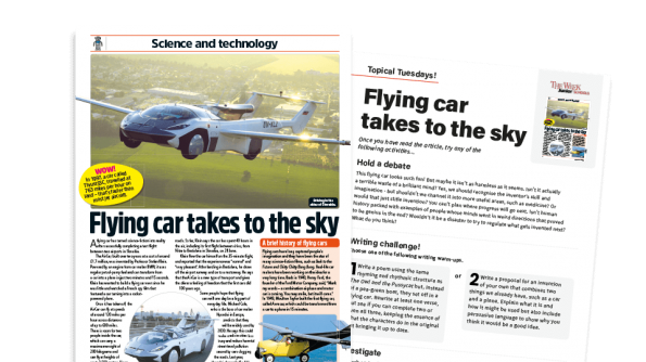 Free Resource Image for Topical Tuesdays: When Cars Fly… KS2 News Story and Reading and Writing Activity Sheet from The Week Junior
