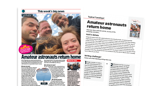 Free Resource Image for Topical Tuesdays: Here Come the Space Tourists - KS2 News Story and Reading and Writing Activity Sheet from The Week Junior
