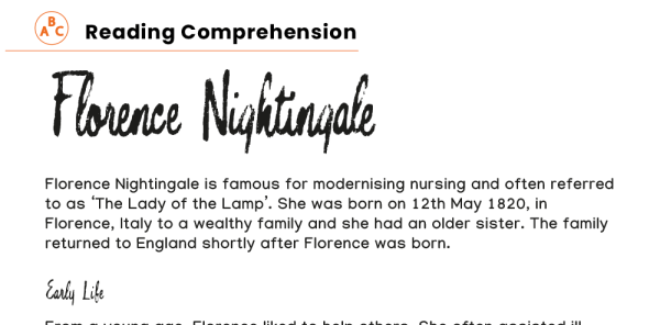 Preview image of Years 3 and 4 reading comprehension: Florence Nightingale