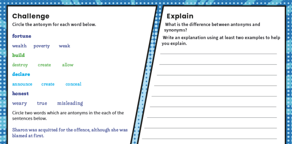 Preview image of Antonyms Year 6 Features of Writing Worksheets