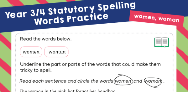 Preview image of Year 3-4 Statutory Spelling Words (SSW) - practice pack 2