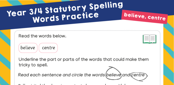 Preview image of Year 3 and 4 Statutory Spelling Words (SSW) Worksheets – Practice Pack 7