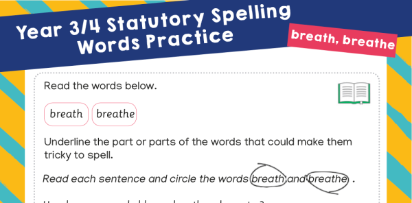 Preview image of Year 3 and 4 Statutory Spelling Words (SSW) Worksheets – Practice Pack 8