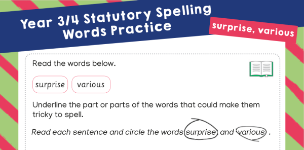 Preview image of Year 3 and 4 Statutory Spelling Words (SSW) Worksheets – Practice Pack 12