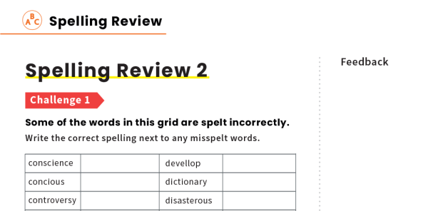 Preview image of Years 5 and 6 Spelling Word List Revision Worksheets