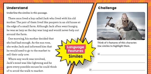 Preview image of KS2 Writing Features Challenge Mat: Similes