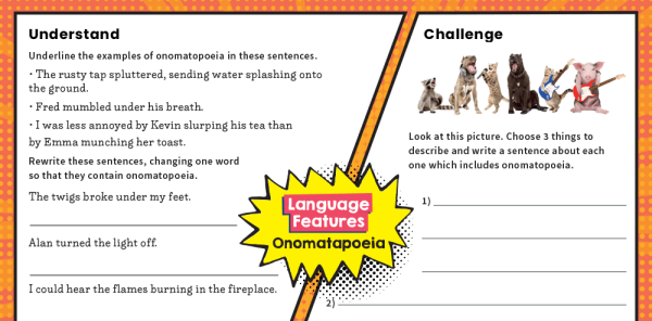 Preview image of KS2 Writing Features Challenge Mat: Onomatopoeia