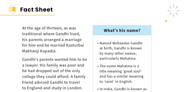 Preview image of Mahatma Gandhi KS2 Non-fiction Reading Comprehension Worksheets Pack – Famous Lives