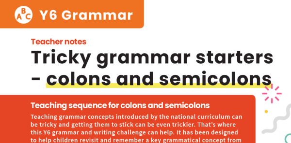 Preview image of Colons and Semicolons Year 6 Story Starters Tricky Grammar Worksheets Lesson Pack 1