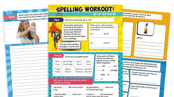 Image of Spelling Workouts, Y2: 'gn' and 'kn' words