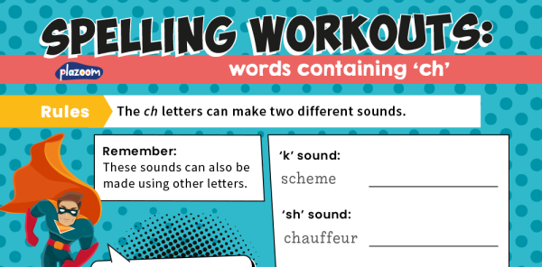 Preview image of Spelling Workouts, Y3: words containing 'ch'