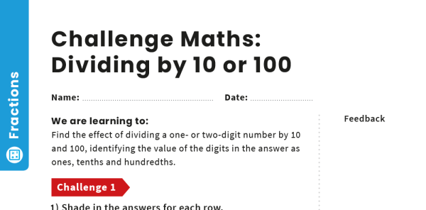Preview image of Dividing by 10 or 100: Y4 – Fractions – Maths Challenge