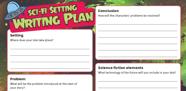 Preview image of KS2 Text Types - Science Fiction Stories: Writing Planners And Model Texts