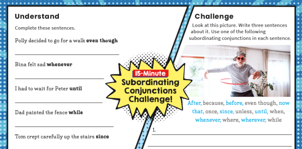 Preview image of Y3 SPaG Challenge Mat: Subordinating Conjunctions