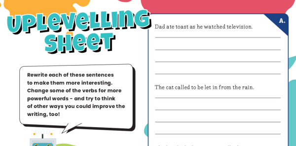Preview image of KS2 Powerful Verbs Grammar Worksheets Lesson Pack