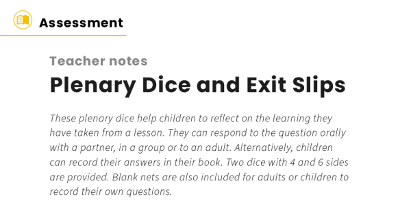 Preview image of Plenary Dice and Exit Slips for Feedback and Progress