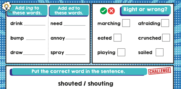 Preview image of -ed and -ing Suffix Year 1 Grammar Worksheets Lesson Pack