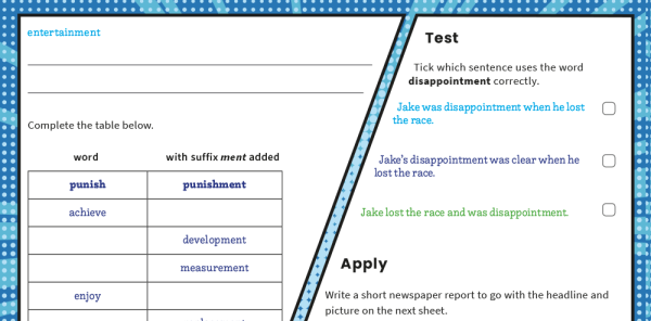 Preview image of -ment Suffix Year 2 SPaG Worksheets Mat
