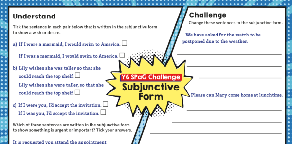 Preview image of Year 6 Subjunctive Form SPaG Worksheets