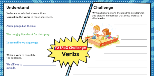 Preview image of Year 2 SPaG Challenge Mat: Verbs