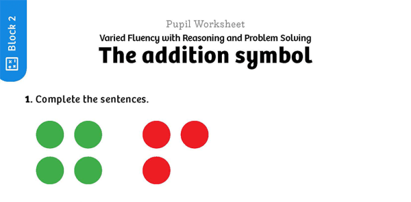 Preview image of White Rose Maths: Y1 Autumn Term – Block 2: The addition symbol maths worksheets