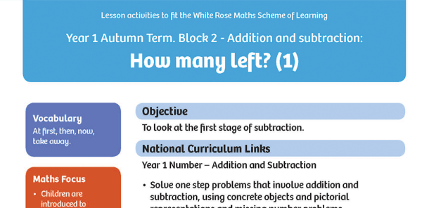 Preview image of White Rose Maths: Y1 Autumn Term – Block 2: How many left? (1) maths worksheets