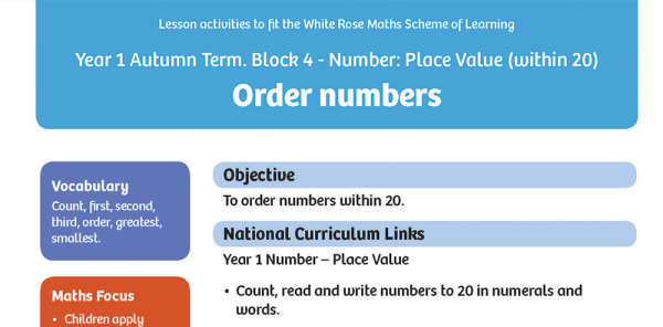 Preview image of White Rose Maths: Y1 Autumn Term – Block 4: Order numbers maths worksheets